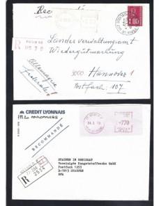 Tres cartas Francia franqueos mecánicos certificado y urgente Francia - Desde 1950.