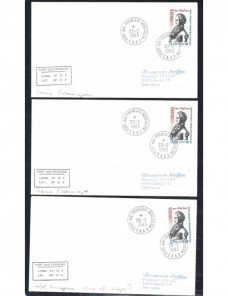 Tres cartas territorio de Francia en la Antártida Colonias y posesiones - Desde 1950.