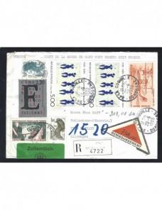 Carta Francia correo certificado contra reembolso control aduana Francia - Desde 1950.