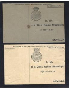 Dos tarjetas España franquicia oficial servicio meteorológico Sevilla España - 1900 a 1930.