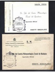 Dos tarjetas España franquicia oficial servicio meteorológico Badajoz España - Desde 1950.