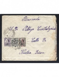 Carta España II República  franqueo con sello derecho de entrega España - 1931 a 1950.
