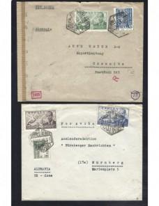 Dos cartas España correo aéreo y censura militar España - 1931 a 1950.