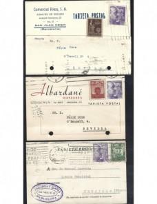 Tres tarjetas postales España sellos de recargo Barcelona España - 1931 a 1950.