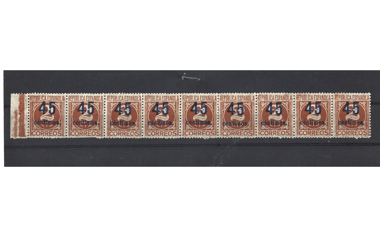 Conjunto de nueve sellos España II República nuevos en tira España - 1931 a 1950.
