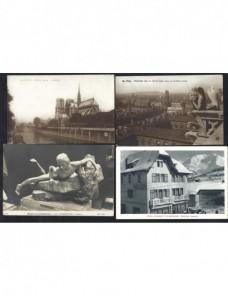 Cuatro tarjetas postales ilustradas nuevas Francia Francia - 1931 a 1950.
