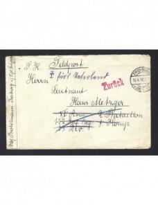 Carta Alemania correo de campaña I Guerra Mundial marca devolución Imperios Centrales - I Guerra Mundial.