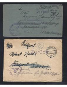 Dos cartas correo de campaña Alemania II Guerra Mundial Potencias del eje - II Guerra Mundial.