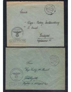 Dos cartas correo oficial de campaña Alemania II Guerra Mundial Potencias del eje - II Guerra Mundial.