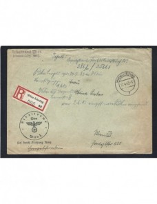 Carta correo aéreo oficial certificado  de campaña Alemania II Guerra Mundial Potencias del eje - II Guerra Mundial.