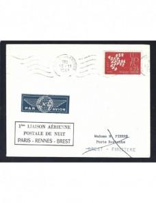Carta aérea Francia primer vuelo y marca devolución Francia - Desde 1950.