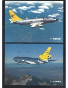 Lote de tres tarjetas postales ilustradas Alemania aerolíneas Alemania - Desde 1950.