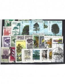 Lote temático. Tema árboles y plantas. Sellos de varios países en usado Sellos.
