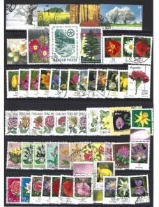 Lote temático. Tema árboles y flores. Sellos de varios países en usado Sellos.