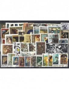 Lote temático. Tema pintura universal. 48 sellos de varios países Sellos.