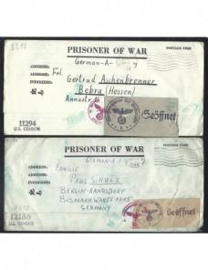 Dos cartas prisioneros de guerra Estados Unidos II G.M. censura doble Prisioneros de guerra - II Guerra Mundial.