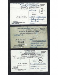 Tres tarjetas prisioneros II G.M. Estados Unidos doble censura Prisioneros de guerra - II Guerra Mundial.