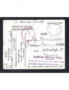 Tarjeta prisioneros II Guerra Mundial Gran Bretaña censura y aviso postal Prisioneros de guerra - II Guerra Mundial.