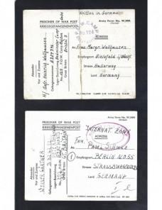 Dos tarjetas prisioneros II Guerra  Mundial  Gran Bretaña censura Prisioneros de guerra - II Guerra Mundial.