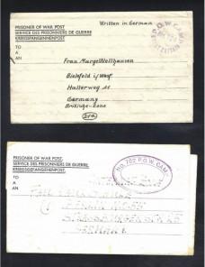 Cuatro cartas prisioneros II Guerra Mundial Gran Bretaña censura Prisioneros de guerra - II Guerra Mundial.