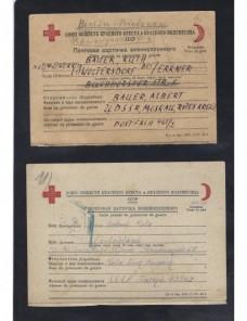 Tres tarjetas Cruz Roja prisioneros de guerra URSS II G.M. censura Prisioneros de guerra - II Guerra Mundial.