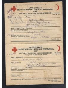 Dos tarjetas dobles Cruz Roja prisioneros de guerra URSS II G.M. censura Prisioneros de guerra - II Guerra Mundial.