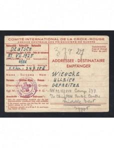 Tarjeta Comité Internacional Cruz Roja prisioneros II G.M. franquicia Prisioneros de guerra - II Guerra Mundial.