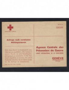 Tarjeta Comité Internacional Cruz Roja prisioneros II G.M. desaparecidos Prisioneros de guerra - II Guerra Mundial.