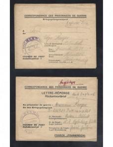 Tres cartas prisioneros de II Guerra Mundial Francia censura Prisioneros de guerra - II Guerra Mundial.