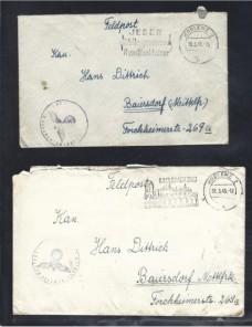 Tres cartas correo de campaña Alemania II G.M. matasellos especiales Potencias del eje - II Guerra Mundial.
