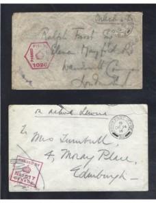 Dos cartas correo de campaña Gran Bretaña I Guerra Mundial censura Bando Aliado - I Guerra Mundial.
