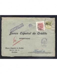 Carta certificada Córdoba Guerra Civil Española censura militar Zona Nacional - Guerra Civil Española.