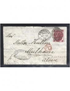 Carta Gran Bretaña Victoria marca P.D.  Gran Bretaña - Siglo XIX.