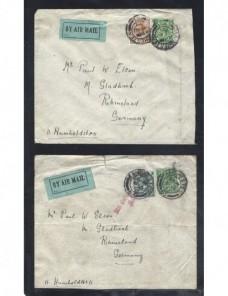 Dos cartas correo aéreo Gran Bretaña Jorge V Gran Bretaña - 1900 a 1930.