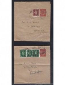 Tres fajas de impresos entero postales Gran Bretaña Jorge V Gran Bretaña - 1900 a 1930.