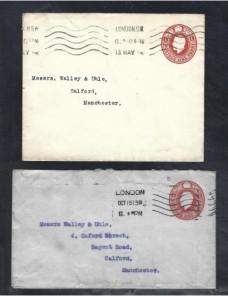 Tres sobres entero postales Gran Bretaña Jorge V Gran Bretaña - 1900 a 1930.