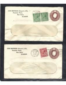 Tres sobres entero postales comerciales Gran Bretaña Jorge V Gran Bretaña - 1900 a 1930.