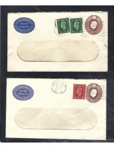 Dos sobres entero postales comerciales Gran Bretaña Jorge V Gran Bretaña - 1931 a 1950.