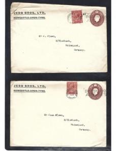 Dos sobres entero postales comerciales Gran Bretaña Jorge V taladros Gran Bretaña - 1900 a 1930.