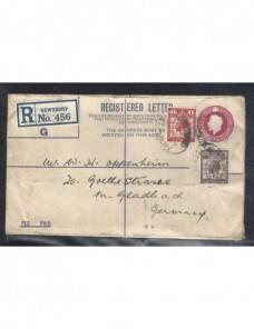 Sobre entero postal certificado Gran Bretaña Jorge V Gran Bretaña - 1900 a 1930.
