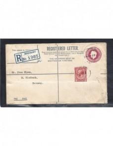Sobre entero postal certificado Gran Bretaña Jorge V Gran Bretaña - 1931 a 1950.