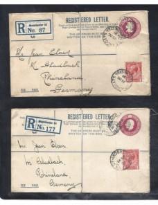 Dos sobres entero postales certificados Gran Bretaña Jorge V Gran Bretaña - 1931 a 1950.