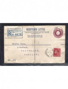 Sobre entero postal certificado Gran Bretaña Jorge V taladros Gran Bretaña - 1931 a 1950.