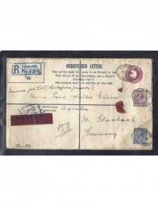 Sobre entero postal certificado Gran Bretaña Jorge V valores declarados Gran Bretaña - 1900 a 1930.