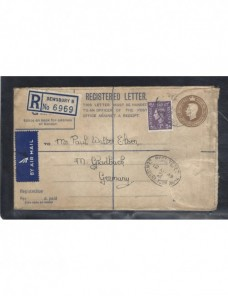 Sobre entero postal certificado y aéreo Gran Bretaña Jorge VI Gran Bretaña - 1931 a 1950.