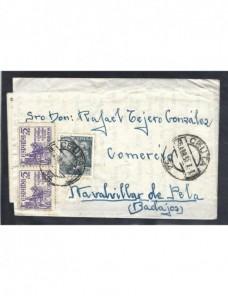 Carta de España doble sello benéfico España - Desde 1950.