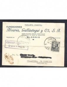 Tarjeta postal de España censura militar Durango Guerra Civil  Zona Nacional - Guerra Civil Española.