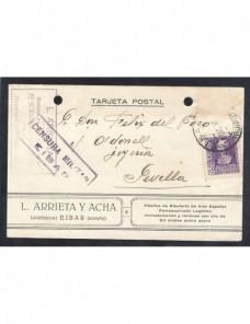 Tarjeta postal de España censura militar Eibar Guerra Civil  Zona Nacional - Guerra Civil Española.