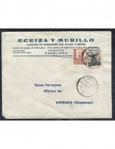 Carta comercial España censura milital Pamplona Guerra Civil Zona Nacional - Guerra Civil Española.