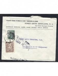 Dos cartas comerciales España censura militar Sevilla Guerra Civil Zona Nacional - Guerra Civil Española.
